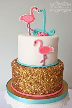 Flamingo themed 1st birthday cake by K Noelle Cakes