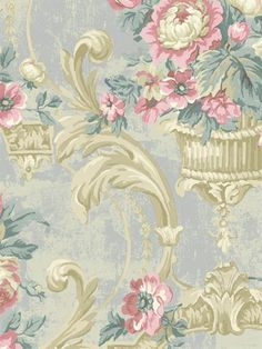 Damask - from Rococo book by Regal - Astek. Flowery Wallpaper, Wall Art Wallpaper, Love Wallpaper, Designer Wallpaper, Seaside Wallpaper, Wallpaper Desktop, Baroque, Antique Interior, Rococo Style