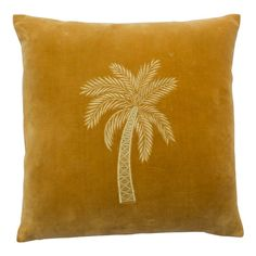 This Embroidered Mustard Velvet Palm Tree Cushion is stunning. Soft and tactile mustard velvet, with hand embroidered tropical palm tree detail. Cushion Pads, Cushion Covers, Pillow Covers, Sofa Throw, Throw Pillows, Decorative Accessories, Home Accessories, Mustard Bedding, Tree Interior