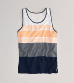 Shop casual Men's T Shirts at American Eagle. Find crew neck t shirts, henley t shirts, graphic tees, v neck t shirts, drop shoulder t shirts & more in new colors and styles. Men's Shirts And Tops, Best Tank Tops, Junior, Mens Outfitters, Striped Tank, Tank Top Shirt, Sport, Stylish Outfits, Stylish Clothes
