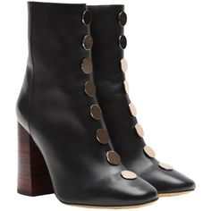 Ellery Esmond ankle boot with disc studs ($1,228) ❤ liked on Polyvore featuring shoes, boots, ankle booties, footwear, black studded booties, leather booties, studded booties, black heeled boots and short black boots