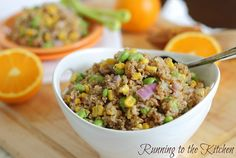 Bulgar Wheat Salad with Orange Dijon Dressing. A chewy, simple, protein packed side salad with a delicious sweet & tangy dressing.