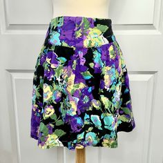 French Atmosphere Juniors Med Purple Floral Skirt Yoke Made In USA Flirty #FrenchAtmosphere #Pleated Hip Openers, Daughter Love, Soft Fabrics, Really Cool Stuff, Looks Great, Floral Design, High Waisted Skirt, French
