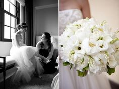 White wedding bouquet with peonies, ranunculuses, lisianthus, calla lilies, and touches of lily of the valley by Greenworks/Andrea Jacobson of the Observatory