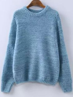 Shop Blue Round Neck Hollow Knit Sweater online. SheIn offers Blue Round Neck Hollow Knit Sweater & more to fit your fashionable needs.