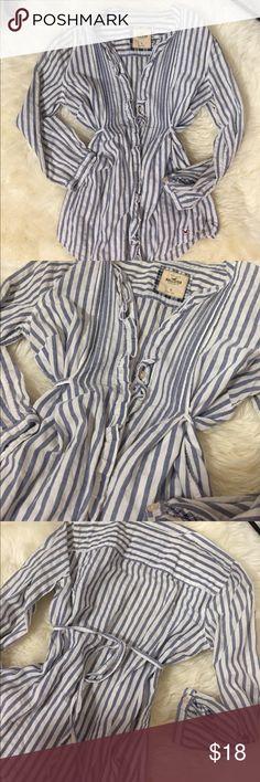 Hollister striped shirt Hollister striped shirt. Adjustable waist, ruffles Hollister Tops Button Down Shirts