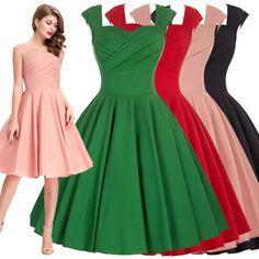 Belle-Poque-Vintage-Retro-Femmes-De-1950-Robe-Fete-Mini-Dete-Soiree
