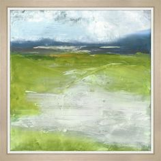 """Stunning green and blue abstract landscape is loose and painterly and a bright pop for any room in your home. Height 30"""" Width 30"""""""