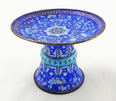 Antique Peking Enamel Blue Compote Footed Dish - 18th/19th Century, China SOLD