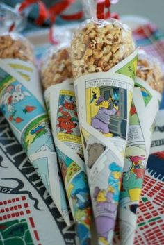 Make cones from a comic and add treats packed in plastic. A great idea for a superhero party.