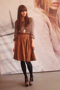 Knee Length skirt with leggings and heels