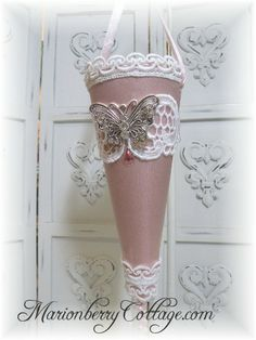 Victorian Tussie Mussie CORONET Pink Butterfly wings