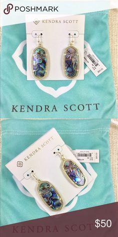 """Kendra Scott Elle abalone gold earrings Kendra Scott Elle abalone gold earrings. Size: 1.44"""" x 0.69"""" on earwire. New with Kendra Scott earrings card and pouch. Kendra Scott Jewelry Earrings"""