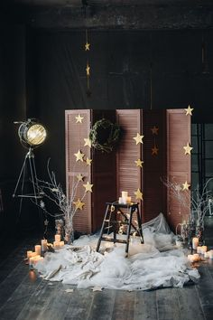 magical christmas festive photoshoot set up backdrop decor