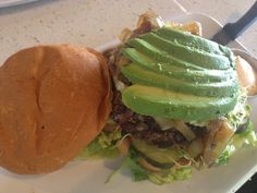 created my own burger@The Counter in Kahala Mall. I chose beef, danish blue cheese, sauteed onions, sprouts, lettuce blend and avocado with horseradish mayo.