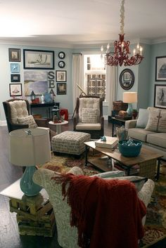 living room for nautical home without the chandelier