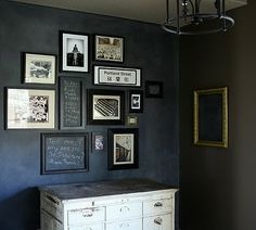 Empty frames to organize chalkboard wall