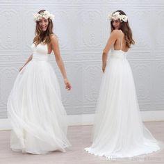 Romantic Bohemian Wedding Dresses Sexy Spaghetti Straps A Line Backless Long Beach Wedding Dresses 2015 White Chiffon Boho Wedding Dress Cream Wedding Dresses Designer Wedding Dress From Garmentfactory, $104.72  Dhgate.Com