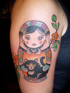 Cat matryoshka tattoo. Gettin' a little cray cray.
