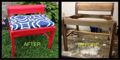 A bench that had to have the legs and structure repaired, primed, painted multiple times, clear coated with glass and finally enhanced with a modern print for fabric