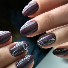 Dark purple nails, Drawings on nails, Feminine nails, flower nail art, Manicure 2017, Nails ideas 2017, Nails trends 2017, Oval nails