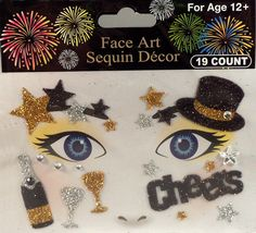 Rhinestone & Glitter New Year's Eve Face Art Kit. Simply peel and stick each piece of the design over your accent make-up (eye shadow, blush, etc.) to apply! 6 different designs to choose from! Rhinestone Makeup, Crystal Tattoo, Nye Party, New Years Eve Party, Face Art, Eye Shadow, Gold Glitter, Swarovski Crystals, Cheer
