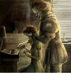 Such an enchanting and beautiful image. I love these two together. Dark and injured souls. In another world, he might have protected her. The imaginary friend from the sewer who rose up one day and became real enough to save her.