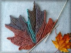 Ravelry: Decorative knitted maple Leaf pattern by Svetlana Gordon. Sewn together, these could be made into a beautiful fall runner. Ravelry: Decorative knitted maple Leaf pattern by Svetlana Gordon.I am still extremely new to knitting and not sure what I Knitting Stitches, Knitting Yarn, Free Knitting, Knitting Patterns, Knitting Needles, Embroidery Patterns, Yarn Projects, Knitting Projects, Crochet Shawl
