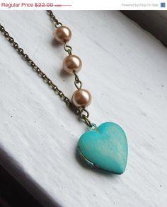 ON SALE Turquoise Locket. Heart Locket. by lakeshorecreations4u, $19.80
