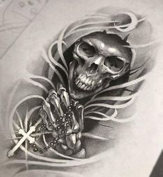 """""""The Grim Reaper with Rosary Beads"""" Tattoo Design – everything – skull tattoo sleeve Tattoo Design Drawings, Skull Tattoo Design, Tattoo Sketches, Tattoo Designs, Tatuaje Grim Reaper, Grim Reaper Tattoo, Grim Reaper Art, Forearm Tattoos, Body Art Tattoos"""