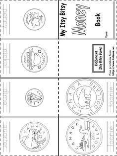 Canadian money coins book printable free – – Food for Healty Money Activities, Money Games, Activities For Kids, 1st Grade Math, Kindergarten Math, Grade 1, Preschool, Elementary Math, Teaching Money