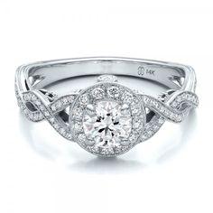Custom Diamond Halo and Filigree Engagement Ring