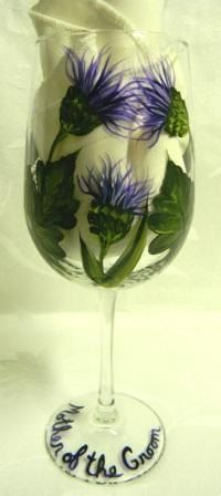 Mother of the groom wine glass with thistle by Morningglories1, $20.00