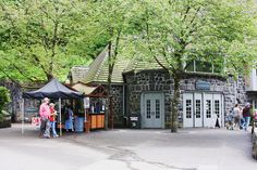 Another view of Multnomah Lodge, showing the outdoor snack shop, open only in summer.  Columbia Gorge, Oregon.  06/2010.