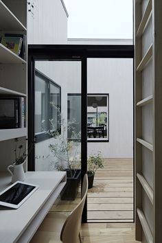 Perhaps the world's smallest modern home office. The large windows save it. House in Maebashi by Studio Synapse