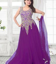 Buy Purple embroidered net semi stitched party-wear-gowns party-wear-gown online