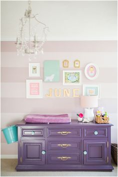 Mauve Purple Striped Nursery Baby's Room Gallery wall art purple DIY dresser