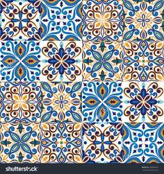 Seamless Tile Background, Blue, White, Orange Arabic, Indian Patterns, Mexican Talavera Tiles Stock Vector Illustration 298680419 : Shutterstock  stock-vector-seamless-tile-background-blue-white-orange-arabic-indian-patterns-mexican-talavera-tiles-298680419.jpg (1500×1600)