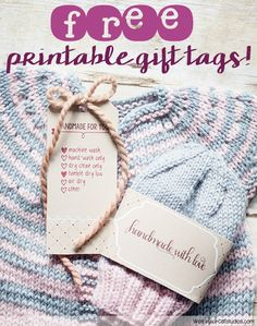 free printable tags, handmade with love -- perfect for your handmade gifts and they include care instructions!