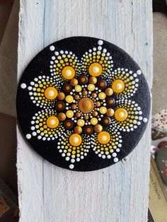 Hand Painted Wood Magnet ~ Mandala ~ Gold ~ Copper ~ Fall ~ Dot Art ~ Handmade ~ Home Decor ~ Fridge Love ~ by Miranda Pitrone by P4MirandaPitrone on Etsy