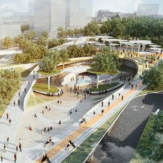 """LAVA and Aspect Studios to add Central Park to Ho Chi Minh City Elevated walkways and sunken gardens with sculptural energy-harvesting """"trees"""" will define LAVA and Aspect Studios' Central Park masterplan in Ho Chi . Landscape Architecture Design, Green Architecture, Concept Architecture, Futuristic Architecture, Design Plaza, Mall Design, Central Park, Ho Chi Minh Stadt, Design D'espace Public"""