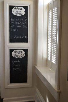 Large Verse of the Week Chalkboard - scripture memory - home school - make a… Prayer Corner, Prayer Wall, Prayer Room, Prayer Board, Chalkboard Scripture, Chalkboard Ideas, Black Chalkboard, Diy Home Decor, Room Decor