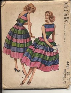 McCalls 4431 Misses 1950's Dress Pattern Full Skirt Bateau Neck Sleeveless V Back with Bow Trim Womens Vintage Sewing Pattern Bust 36 UNCUT. $65.00, via Etsy.