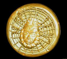 Moche spider on web in gold, with Old Lord of Sipan face, Peru.