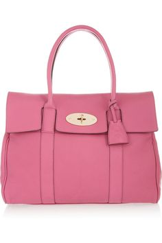 A big favourite and ever popular is the Mulberry Bayswater tote and new for this season in funky bubblegum pink, lots of colour and fun with this pretty shade. Leather Purses, Leather Handbags, Leather Bag, Pink Leather, Pink Handbags, Purses And Handbags, Fashion Handbags, Sophia Webster Shoes, Burberry Brit
