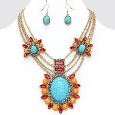 Multi Color Flowers Crystals Turquoise Center Statement  Fashion Necklace Set #FashionJewelry