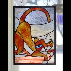 Stained Glass Panel Kitty Cat van helixartandglass op Etsy