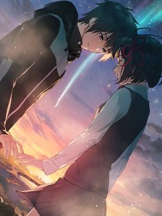 Image discovered by Sugary Queen. Find images and videos about anime, your name and kimi no na wa on We Heart It - the app to get lost in what you love. Manga Anime, Anime Body, Film Anime, Fanarts Anime, Anime Characters, Fictional Characters, Couple Amour Anime, Anime Love Couple, Manga Couple
