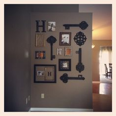 Key and picture wall gallery, picture wall, collage- love the keys.... Hobby lobby time!!!!