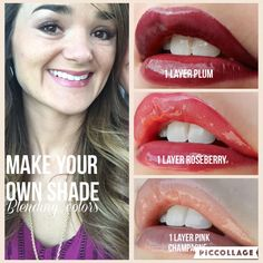 LipSense Layering!  Make your own shade!  Plum, Roseberry, Pink Champagne.  Glossy Gloss  LipSense Makeup from Morgan ID 198827